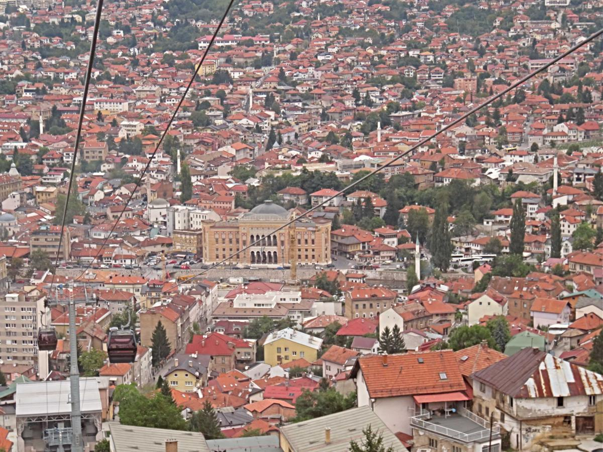 Sarajevo Town Hall taken from Trebević cable car