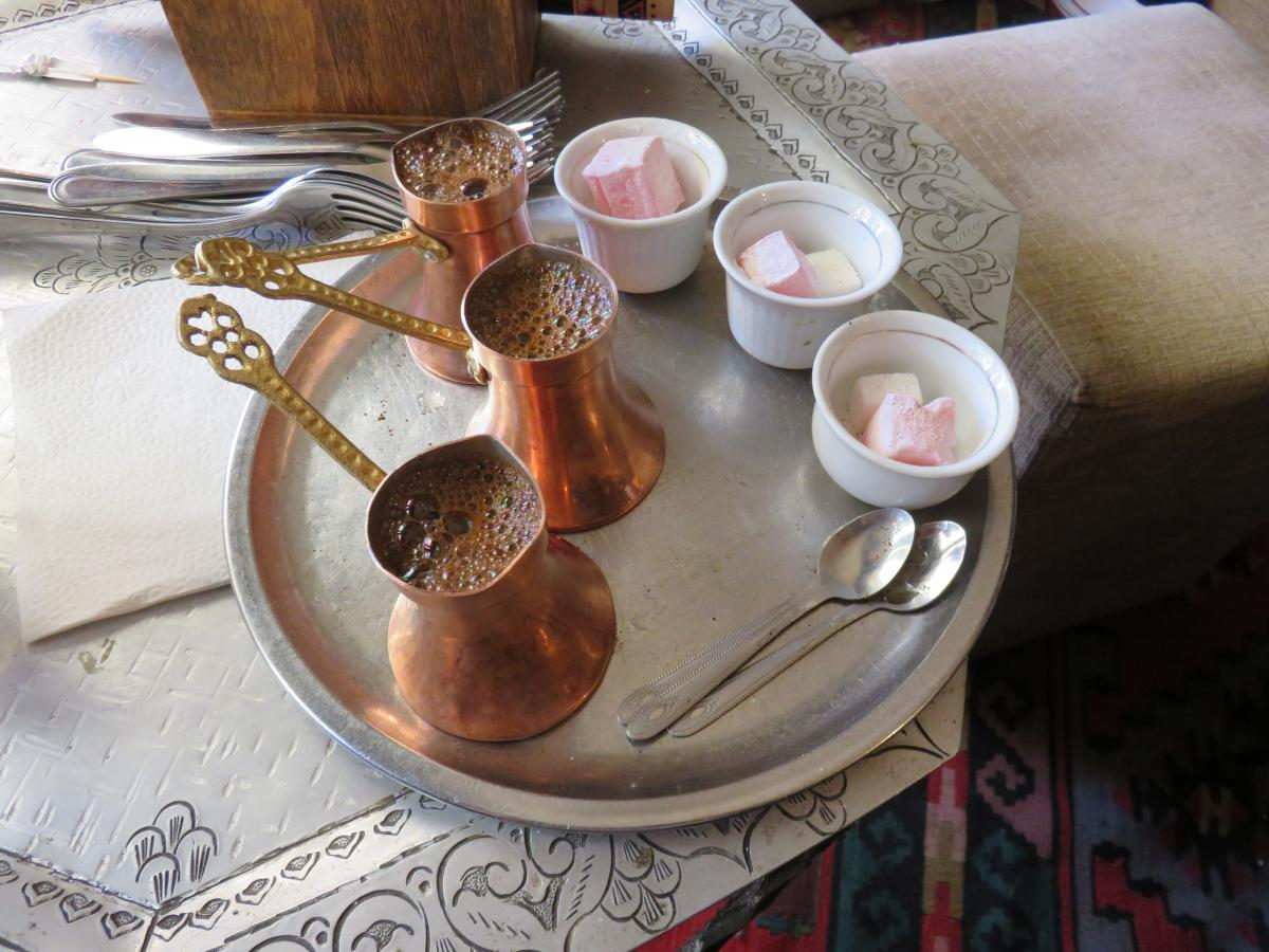 Enjoy strong Bosnian coffee with a sweet