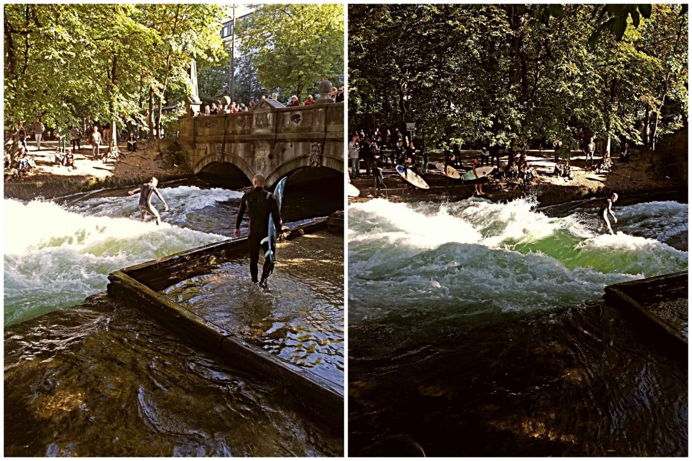 Surfers riding the Eisbach river rapids in Munich